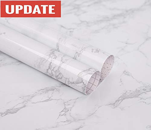 practicalWs Marble Paper Granite Gray/White Roll Kitchen countertop Cabinet Furniture is renovated Thick Waterproof PVC Easy to Remove Without Leaving Marks Upgrade (24