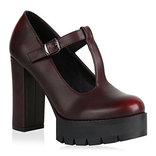 Stiefelparadies Damen Plateau Pumps mit Blockabsatz Profilsohle Flandell