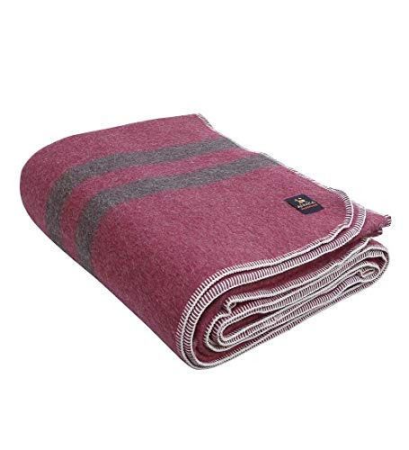 Alpaca Warehouse Thick Alpaca Wool Blanket in Twin, Queen and King Sizes   Heavyweight Peruvian Alpaca Wool Blankets (King, Soft Wine - Brown Stripes)