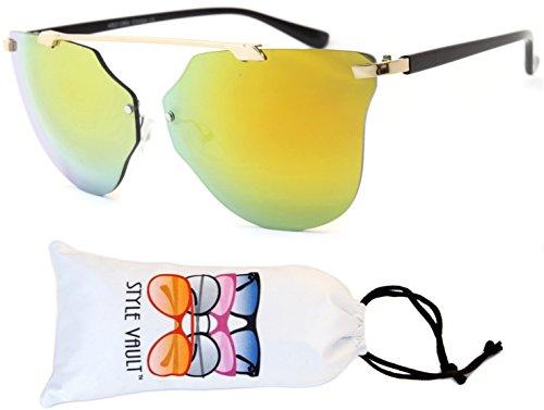 W221-vp Style Vault Retro Round Wayfarer Cateye Style Sunglasses (B3107F Gold-gold mirror, - Gold Wayfarer