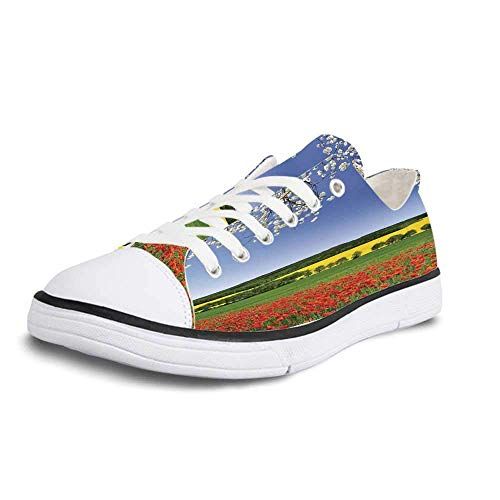 (Canvas Sneaker Low Top Shoes,Floral Poppy Field with a Spring Landscape and Blossom Tree View in Meadow Nature Image Home Decor Women 8)