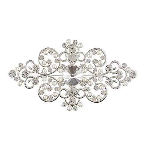 (Darice David Tutera Diamond Shape w/Rhinestones & Pearls Silver Swirl Wedding Brooch)