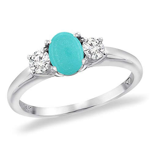 14K White Gold Natural Turquoise Engagement Ring Diamond Accents Oval 7x5 mm, sizes 5 -10