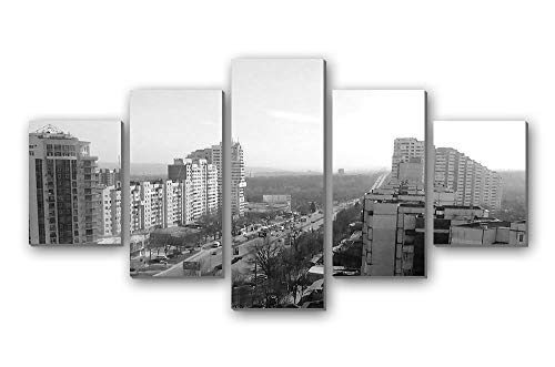 GLITZFAS PRINTS 5 Panel Wall Art Painting - Chisinau Capital of Moldova Botanica Sector - Canvas Stretched with Wooden Frame for Home Decor (8
