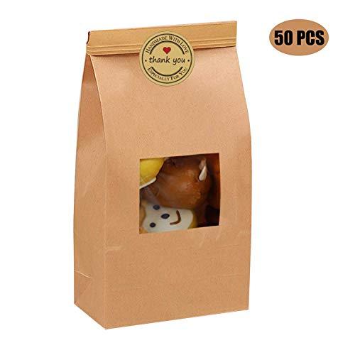 Hasken 50 Pack Brown Bakery Bags with Window Kraft Paper Bags Tin Tie Tab Lock Bags for Storing Cookie Dried Foods Snack