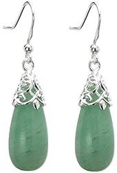 Queenberry Sterling Silver Natural Aventurine Teardrop Dangle Filigree Flower French Hook Earrings
