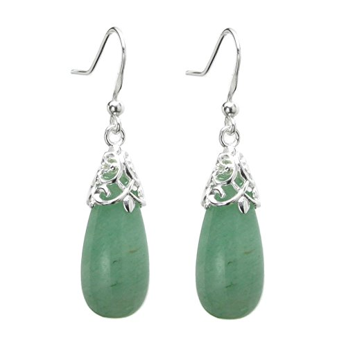 Sterling Silver Natural Aventurine Teardrop Dangle Filigree Flower French Hook Earrings ()