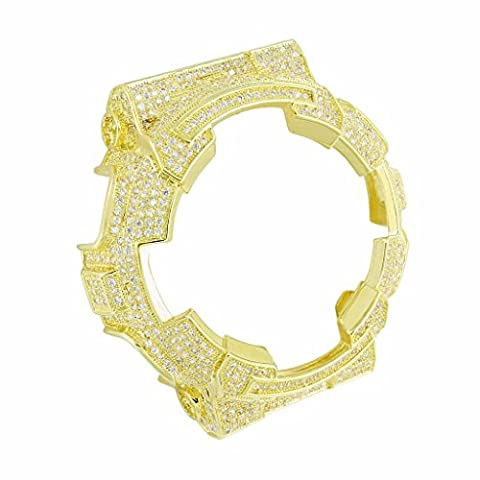 2 Tone Iced Out Elegant Yellow Gold Finish Lab Diamond Wristwatch Bezel G Shock (Real Gold G Shock Watches For Men)