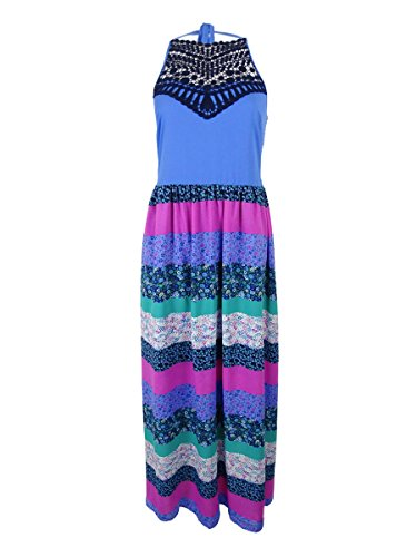 Tommy Hilfiger Womens Quilted Crochet-Detail Maxi Dress Multi - Aviators Tommy Hilfiger