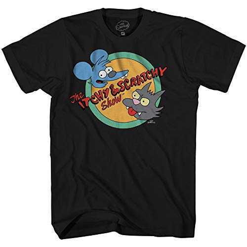 The Simpsons Itchy and Scratchy Show Logo Comedy Classic Cartoon Adult Mens Graphic T-Shirt (Black, Large) (Simpson Tshirt)