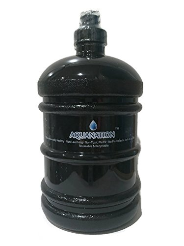 Bottle Polycarbonate Durable (AquaNation 1/2 Gallon Water Bottle Jug Daily 8 Polycarbonate Half Gallon Plastic Sports Gym Fitness Water Bottle Jug Portable Camping Hiking Water Bottle Canteen (Solid Black))