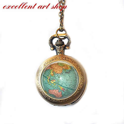 World Map Pocket Watch Necklace, Vintage World Map, Nautical, Vintage Gold or Silver Pocket Watch by excellent art shop