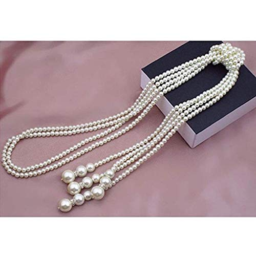 Noopvan learamce Necklace 124cm Long Knotted Pearl Necklace Chain Girl Women Lady Jewelry (White)