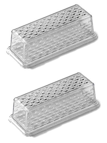 "Chef Craft 21458-2PK Clear Plastic Butter Dish with Crystalline Design Cover | 6.75"" x 2.25"" 