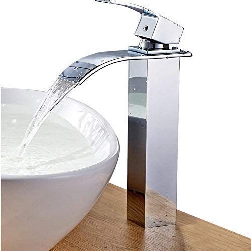 - FChome Waterfall Faucet Bathroom Basin Sink Faucet Hot/Cold Mixer Faucet Chrome Finish Tall Spout Brass Single Handle Faucets