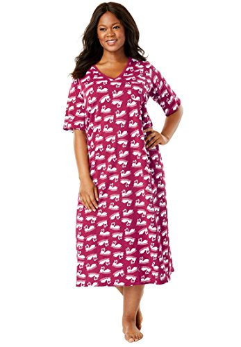 - Dreams & Co. Women's Plus Size Long Print Sleepshirt Pink Burst Paisley,7X/8X