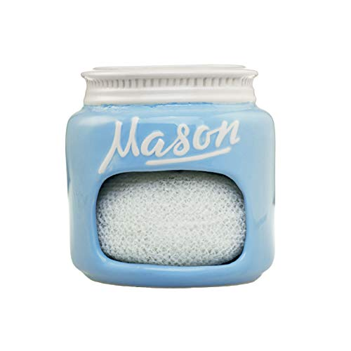 Retro Kitchen Decorations - Blue Ceramic Mason Jar Kitchen Sponge Holder - Adorable Home Retro & Farmhouse Kitchen Decor   Amazing Rustic Accessory   Vintage Gift for Friends, Family and Collectors by Goodscious