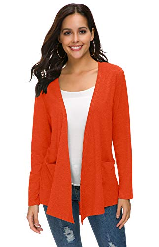 TownCat Women's Loose Casual Long Sleeved Open Front Comfy Cardigans with Pocket (L, Orange)