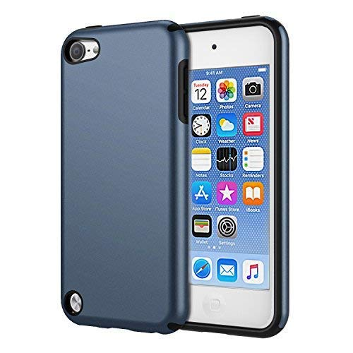 (KELIFANG Case Compatible with iPod Touch 7, 6 and 5, Ultra Slim Full Body Protective Case with Dual Layer Shockproof TPU Bumper Hard Back Cover Compatible with 7th/6th/5th Generation, Sapphire Blue )