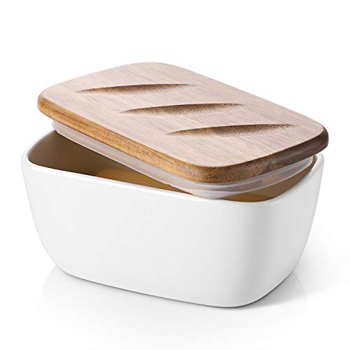 DOWAN Porcelain Butter Dish - Covered Butter Container with Wooden Lid for Countertop