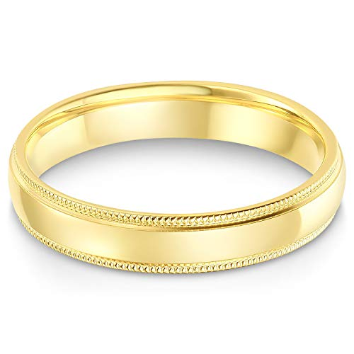 Ioka - 14k Solid Yellow Gold 4mm Comfort Fit Milgrain Traditional Wedding Band Ring - size 8