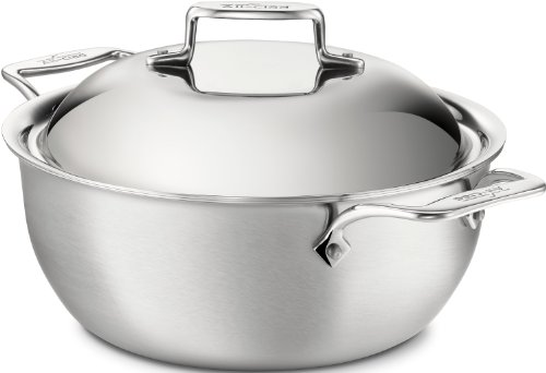 Dishwasher Safe Stainless Steel Dutch Oven (All-Clad BD55500 D5 Brushed 18/10 Stainless Steel 5-Ply Bonded Dishwasher Safe Dutch Oven with Domed Lid Cookware, 5.5-Quart,)