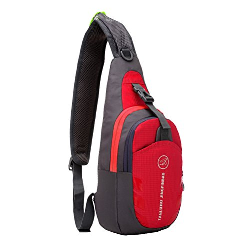 Price comparison product image Nylon Waterproof Cycling Travel Hiking Running Multi-functional Chest Bag Pack Sling-style Red