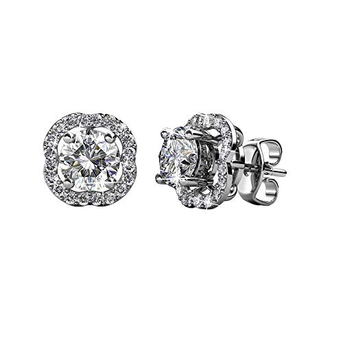 Cate & Chloe Haddie Blossom White Gold Stud Halo Earrings, 18k Gold Plated Studs with Swarovski Crystals, Flower Stud Earring Set with Cluster of Round Cut Crystals (Chloe Accessories)