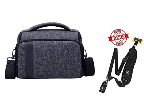 - Mirrorless Camera Shoulder Bag for Nikon Fujifilm Canon, Shockproof, Grey with Free Camera Strap and Rain Cover