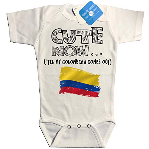 Cute Now Baby Colombia Bodysuit Til My Colombian Comes Out Country Pride Baby/Infant Jumpsuit in White Pick Size NB-18M (6M)