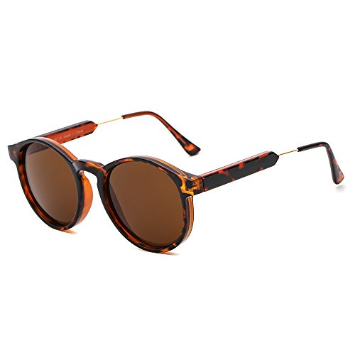 SUERTREE Vintage 80s Sunglasses Women Men Fashion Small Round Sun Glasses Classic Shades Cute Eyewear Retro Eyeglasses Half Metal Arms Rimmed UV400 Protection for Travel Demi Frame - Sunglasses Customize Your Own