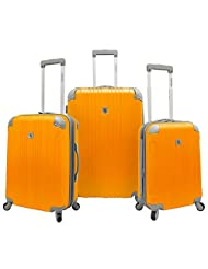 Beverly Hills Country Club Newport Hard-Sided 3 Piece Spinner Luggage Set , Newport Hard-Sided 3 Piece Suitcase Set (Orange)
