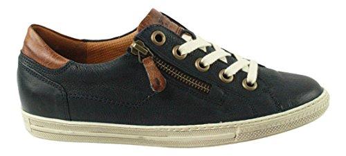 Paul Green 4128-042 Sneaker Da Donna Realizzato In Pregiata Filigrana In Pelle Con Cuciture A Contrasto Blu Scuro