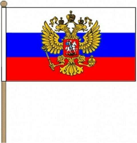 Flagmania® 12 Stück Russland (Wappen) 30,5 x 45,7 cm große Handwinkel-Flaggen + 59 mm Button Badge