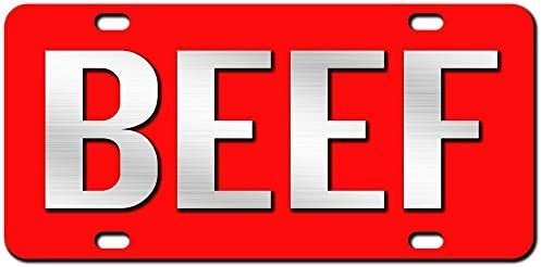 JASS GRAPHIX Beef License Plate Brushed Aluminum on Red 2-D Farmer Heavy Duty