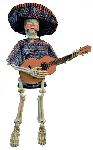 Morris Costumes Skeleton Playing Guitar 40 Inches Halloween