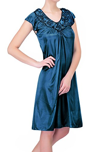 Women's Satin Silk Roses Nightgown by EZI (L, Jewel Blue)