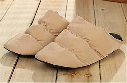 Unisex Wasserdichte Hausschuhe Pantoffeln Weiche Winter Filzpantoffeln Khaki