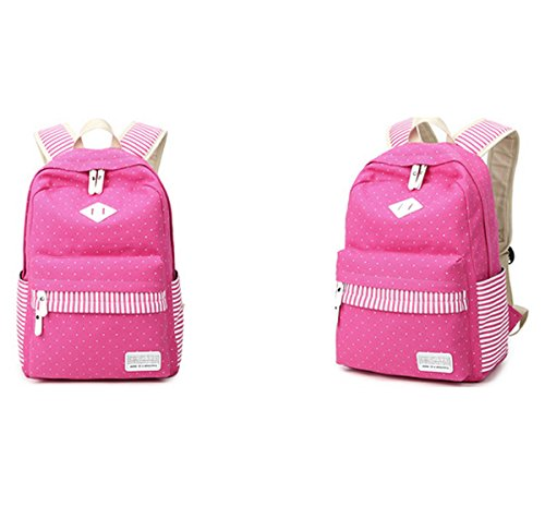 Zhuhaixmy Blue Canvas For Bag Pink Casual Backpack Dot Bag Girls Teenage School QR Laptop Travel OqrpxOtU