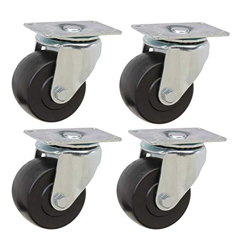 "3"" Caster Set of 4 Swivel Low Profile Heavy Duty Casters with Polyolefin Wheel and 2,000lbs Capacity Per Set from SES Casters"