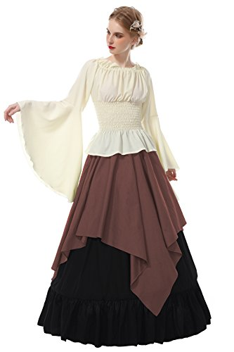 ROLECOS Womens Renaissance Medieval Costume Trumpet Sleeve Peasant Shirt and Skirt Coffee XL -