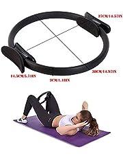 Dubbel handvat Yoga Pilates-ring Cirkel Weerstandsring Magische Fitnesscirkel Pilates-ring Pilates-ring Weerstandslus voor dijen en armen Vet verliezen en spieren opbouwen, een perfect lichaam creëren - Zwart