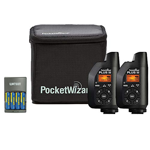 (PocketWizard 801-130 Plus III Transceiver 2 Pack with Case and 4-Hour Rapid Charger with 4 AA NiMH Rechargeable Batteries Bundle)