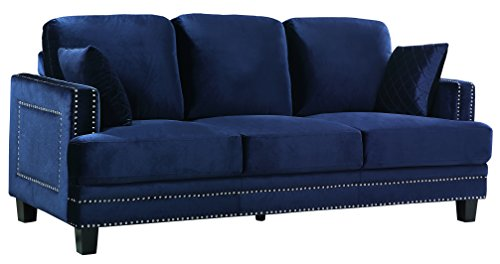 Meridian Furniture 655Navy-S Ferrara Velvet Upholstered Sofa with Square Arms, Silver Nailhead Trim, and Custom Solid Wood Legs, Navy For Sale