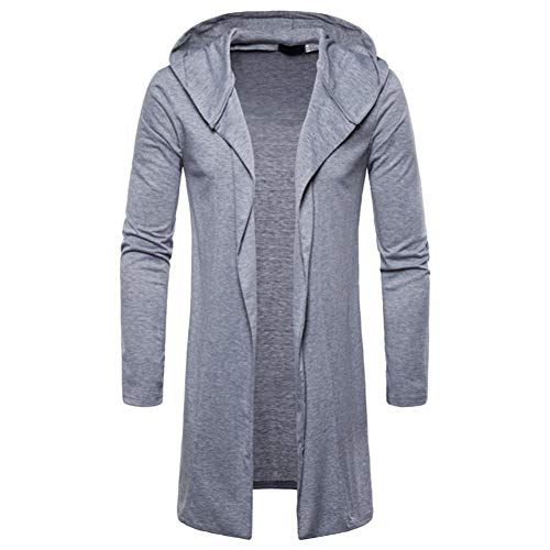 Sunhusing Men's Casual Solid Color Hooded Trench Coat Jacket Long Section Cardigan Sweatshirt