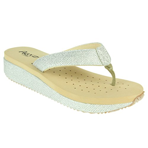 Mujer Señoras Trémulo Cada día Verano Casual Comfort Ponerse Tacón de cuña Sandalias Zapatos Tamaño Plata