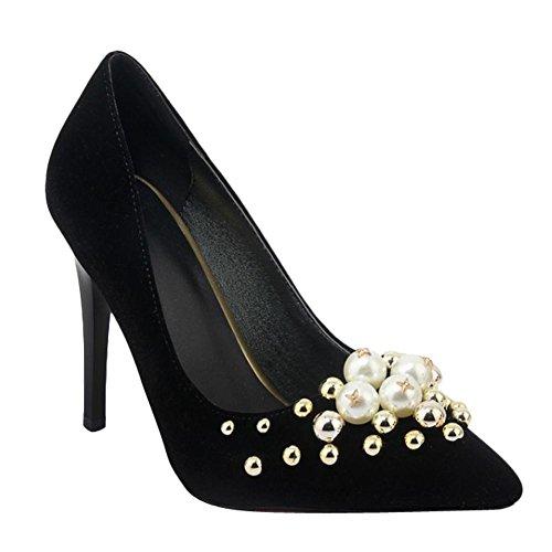 Stylish Pointed Dress Black Toe Heel Carolbar Fashion High Women's Shoes Stiletto AaZEEwBq
