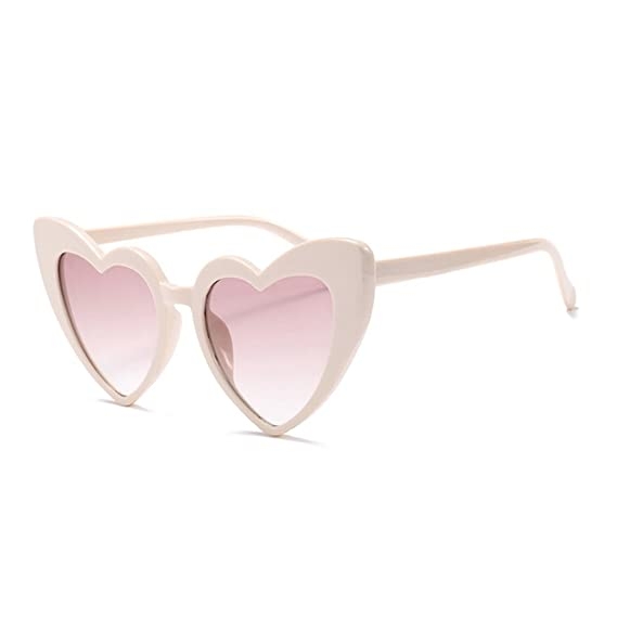 7eeae89e0cf MINCL New Fashion Love Heart Sexy Shaped Sunglasses For Women Girls Brand  Designer Sunglasses UV400 (Beige)  Amazon.co.uk  Clothing