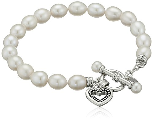 White Cultured Freshwater Pearl Toggle (Sterling Silver White 7-7.5mm White Oval Freshwater Cultured Pearl Heart Toggle Charm Bracelet)