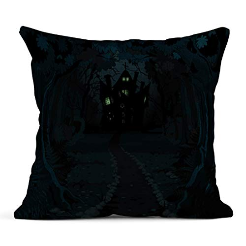 Semtomn Decor Flax Throw Pillow Covers Case Forest of Spooky Haunted House on Night Halloween Horror 20